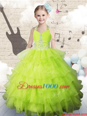 Latest Strapless Sleeveless Organza Little Girls Pageant Gowns Beading and Ruffled Layers Lace Up