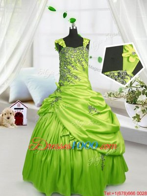 Yellow Green Sleeveless Beading and Pick Ups Floor Length Pageant Gowns For Girls