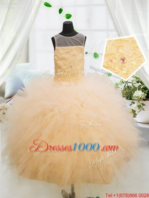Custom Fit Scoop Orange Sleeveless Tulle Zipper Kids Formal Wear for Party and Wedding Party