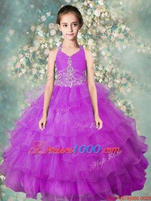 Dazzling Ruffled Ball Gowns Kids Formal Wear Lavender Halter Top Organza Sleeveless Floor Length Zipper