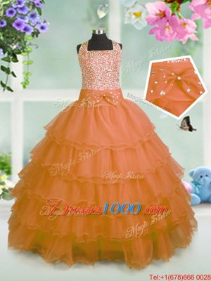 Orange Straps Zipper Beading and Ruffled Layers and Bowknot Little Girl Pageant Dress Sleeveless