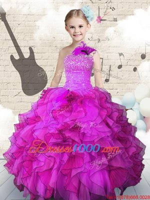 Ball Gowns Little Girls Pageant Dress Wholesale Fuchsia One Shoulder Organza Sleeveless Floor Length Lace Up