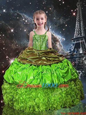 Organza Lace Up Spaghetti Straps Sleeveless Floor Length Child Pageant Dress Beading and Ruffles and Pick Ups