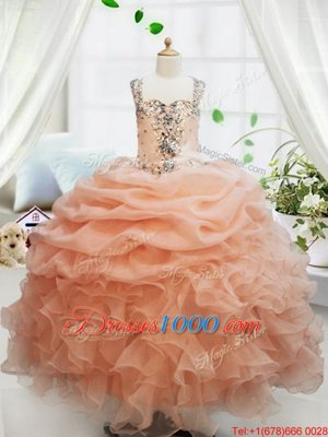 Customized Organza Square Sleeveless Zipper Beading and Ruffles and Pick Ups Pageant Gowns For Girls in Orange