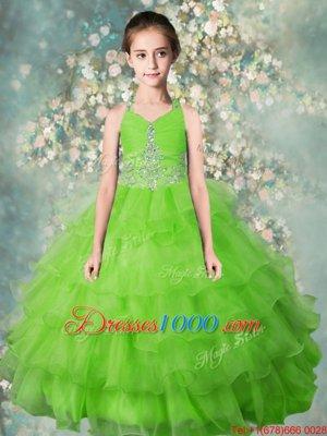 Ruffled Ball Gowns Pageant Gowns For Girls Apple Green Halter Top Organza Sleeveless Floor Length Zipper