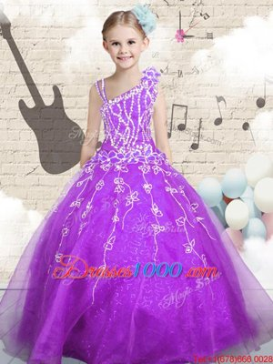 Most Popular Floor Length Ball Gowns Sleeveless Purple Little Girls Pageant Gowns Lace Up