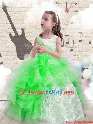 Floor Length Ball Gowns Sleeveless Pageant Gowns For Girls Lace Up