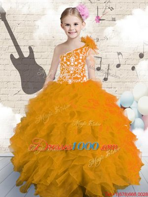Yellow Green Lace Up Child Pageant Dress Beading and Ruffles Sleeveless Floor Length