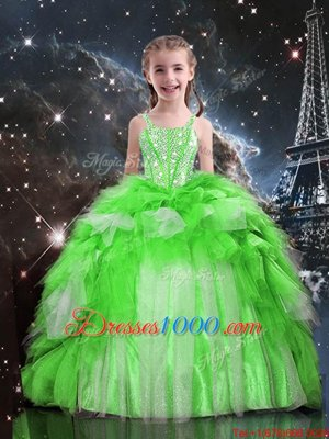 Organza Lace Up Child Pageant Dress Sleeveless Floor Length Beading and Ruffles