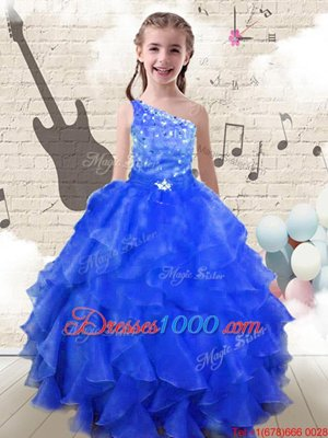 Low Price Halter Top Orange Zipper Little Girls Pageant Dress Wholesale Beading and Ruffled Layers Sleeveless Floor Length