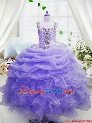 Dramatic Organza Sleeveless Floor Length Little Girl Pageant Dress and Beading and Ruffles and Pick Ups