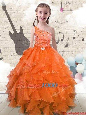 Floor Length Orange Red Kids Formal Wear One Shoulder Sleeveless Lace Up