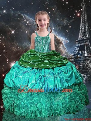 One Shoulder Floor Length Ball Gowns Sleeveless Baby Blue Pageant Gowns For Girls Lace Up