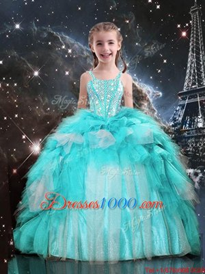 Aqua Blue Little Girl Pageant Gowns Party and Wedding Party and For with Beading and Ruffles Spaghetti Straps Sleeveless Lace Up