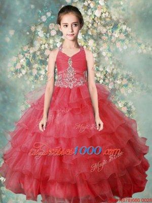 Hot Selling Ruffled Floor Length Watermelon Red Little Girls Pageant Gowns Halter Top Sleeveless Zipper