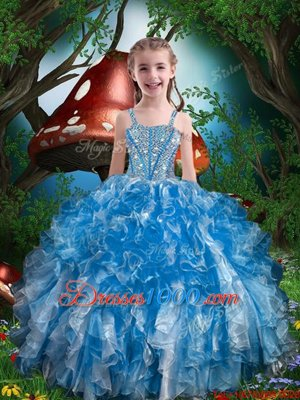 Blue Spaghetti Straps Neckline Beading and Ruffles Little Girl Pageant Gowns Sleeveless Lace Up