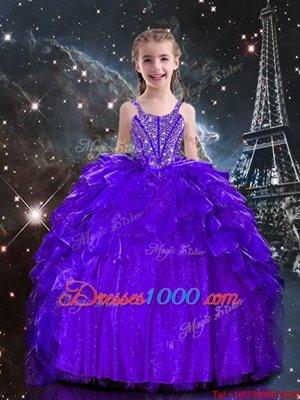 Floor Length Ball Gowns Sleeveless Dark Purple Kids Pageant Dress Lace Up