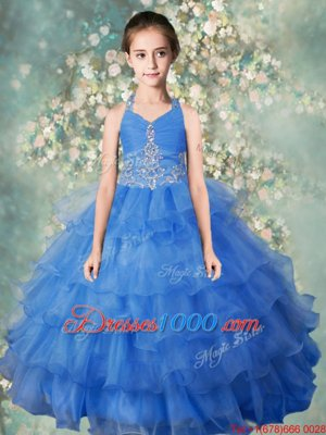 Halter Top Beading and Ruffled Layers Little Girls Pageant Dress Wholesale Baby Blue Zipper Sleeveless Floor Length