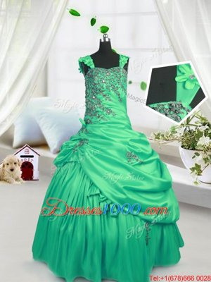 Latest Pick Ups Floor Length Column/Sheath Sleeveless Aqua Blue Girls Pageant Dresses Zipper