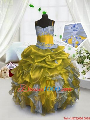 On Sale Gold Organza Lace Up Little Girls Pageant Dress Wholesale Sleeveless Floor Length Beading and Ruffles and Pick Ups