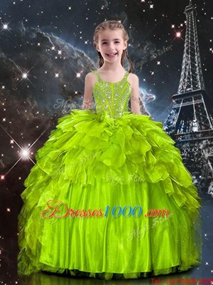 Trendy Organza Sleeveless Floor Length Little Girls Pageant Dress Wholesale and Beading and Ruffles