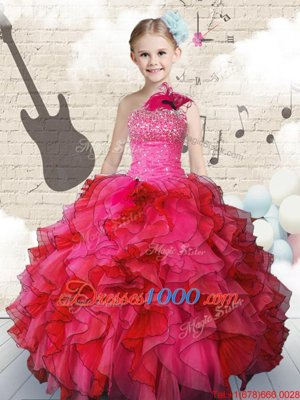One Shoulder Sleeveless Beading and Ruffles Lace Up Girls Pageant Dresses