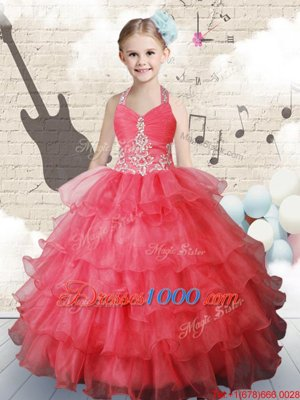 Halter Top Coral Red Sleeveless Floor Length Ruffled Layers Lace Up Child Pageant Dress