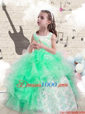 Dazzling Scoop Floor Length Lace Up Kids Pageant Dress Apple Green and In for Party and Wedding Party with Beading and Ruffles