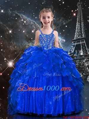 Sleeveless Floor Length Beading and Ruffles Lace Up Pageant Gowns For Girls with Royal Blue