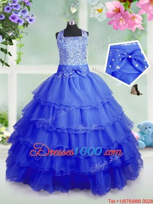 Affordable Royal Blue Zipper Square Beading and Ruffled Layers Kids Pageant Dress Organza Sleeveless
