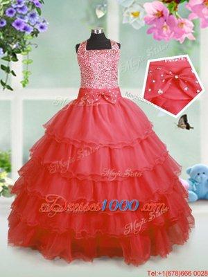 Floor Length Ball Gowns Sleeveless Coral Red Little Girls Pageant Dress Wholesale Zipper