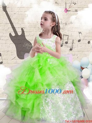 Super Child Pageant Dress Party and Wedding Party and For with Beading and Ruffles Scoop Sleeveless Lace Up
