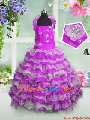 Dramatic Sleeveless Organza Floor Length Lace Up Pageant Gowns For Girls in Fuchsia for with Beading and Appliques and Ruffled Layers