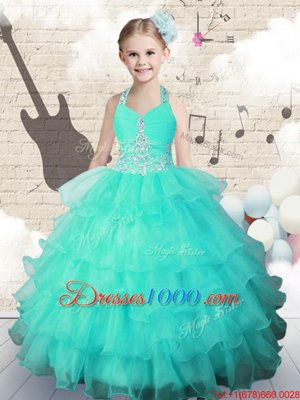 Scoop Sleeveless Lace Up Little Girl Pageant Gowns Hot Pink Organza