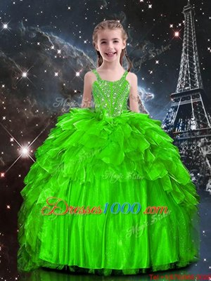 Lace Up Spaghetti Straps Beading and Ruffles Girls Pageant Dresses Organza Sleeveless