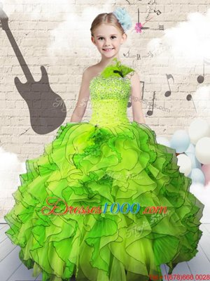 Fantastic Ball Gowns One Shoulder Sleeveless Organza Floor Length Lace Up Beading and Ruffles Girls Pageant Dresses