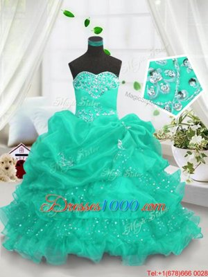 Turquoise Organza Lace Up Sweetheart Sleeveless Floor Length Pageant Gowns For Girls Beading and Ruffled Layers and Pick Ups