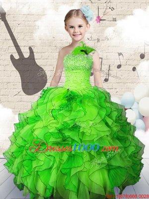 Cheap Sleeveless Beading and Ruffles Floor Length Little Girls Pageant Dress Wholesale
