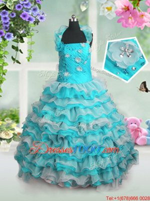 Stunning Blue And White Straps Lace Up Beading and Appliques and Ruffled Layers Little Girls Pageant Gowns Sleeveless