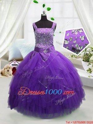 Elegant Sleeveless Beading and Ruffles Lace Up Little Girls Pageant Dress