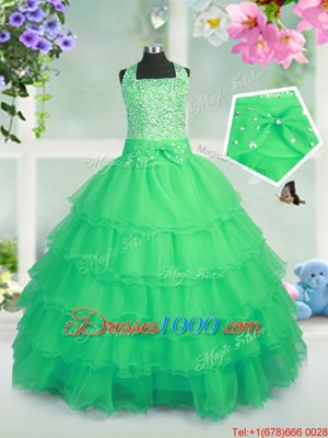 Ruffled Square Sleeveless Zipper Kids Formal Wear Organza