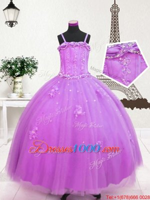 Beading and Appliques Little Girls Pageant Gowns Lilac Zipper Sleeveless Floor Length