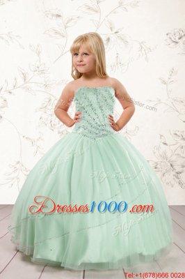Lovely Strapless Sleeveless Girls Pageant Dresses Floor Length Beading Apple Green Tulle