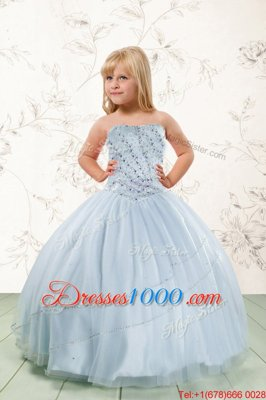 Popular Beading Little Girls Pageant Dress Wholesale Baby Blue Lace Up Sleeveless Floor Length