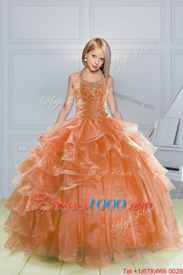 Organza Halter Top Sleeveless Lace Up Beading and Ruffles Girls Pageant Dresses in Orange