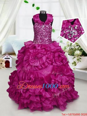 Halter Top Sleeveless Floor Length Beading and Ruffles Zipper Child Pageant Dress with Fuchsia