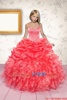 High Quality Coral Red Organza Lace Up Little Girl Pageant Gowns Sleeveless Floor Length Beading and Ruffles and Pick Ups