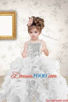 Grey Sleeveless Floor Length Beading and Ruffles and Sequins Lace Up Little Girl Pageant Gowns