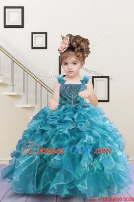 Floor Length Lace Up Girls Pageant Dresses Turquoise and In for Party and Wedding Party with Beading and Ruffles