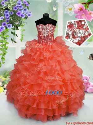 Coral Red Ball Gowns Sweetheart Sleeveless Organza Floor Length Lace Up Ruffled Layers and Sequins Pageant Gowns For Girls